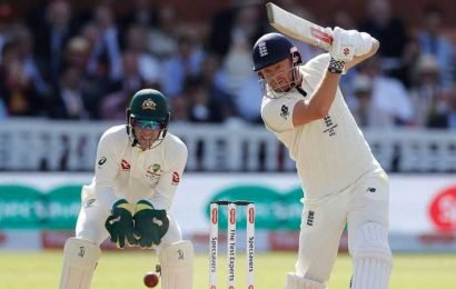 Ashes 2019: Jonny Bairstow and Chris Woakes limit the damage for England before tea