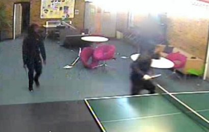 Blade-wielding killers corner stab victim in youth centre in shocking CCTV