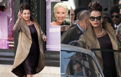 Emma Thompson rolls back the years as she shoots Cruella in London