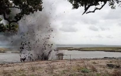 Live World War Two grenade EXPLODES on Hampshire beach
