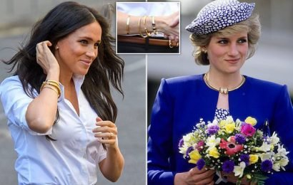 Meghan dresses up outfit with FIVE bracelets, including one of Diana's