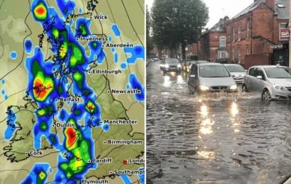 UK weather forecast – Flood warnings as Brits braced for rail and road chaos today after Hurricane Humberto dumps MONTH'S rain in six hours and Met Office says MORE storms are on the way – The Sun