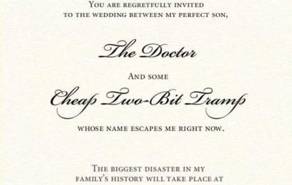 Outrageous wedding invite from mother of the groom labels bride a 'cheap two-bit tramp' – The Sun