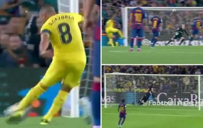 Watch former Arsenal star Santi Cazorla score screamer against Barcelona – three years after being told by doctors he may never walk again – The Sun