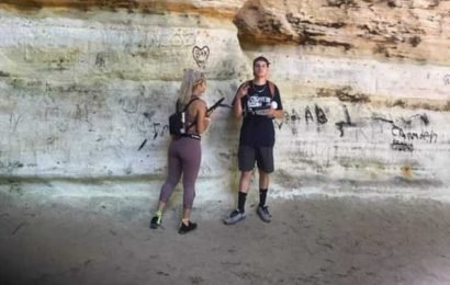 Cops searching for couple accused of vandalizing sacred Native American site