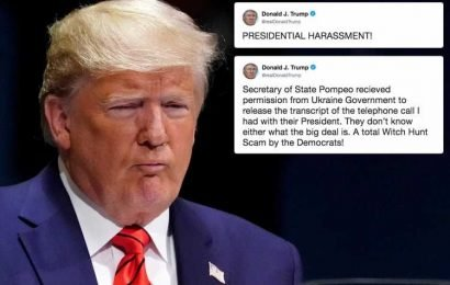 Donald Trump brands impeachment inquiry 'presidential harassment' – as he vows to release full transcript of his call to Ukraine's president