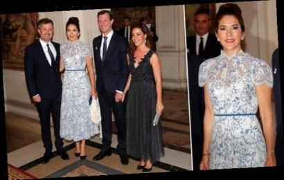 Crown Princess Mary of Denmark turns head in a blue ball gown in Paris