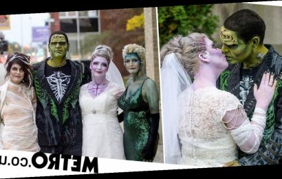 Halloween-loving couple make the spooky day the theme of their wedding