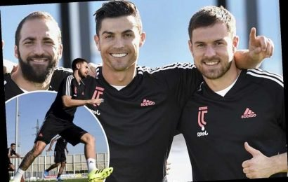 Aaron Ramsey grins with Cristiano Ronaldo as he gets back to first-team Juventus training after missing Wales qualifiers – The Sun