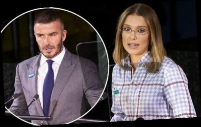 Millie Bobby Brown is joined by David Beckham at UN global summit