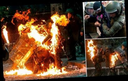 Riot police engulfed in flames as protestors hurl petrol bomb in Chile