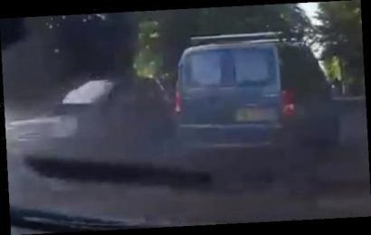 Shocking moment reckless van driver narrowly avoids head-on collision
