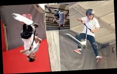 Schoolboy freestyle scooter shows stunts that made him champion at 12