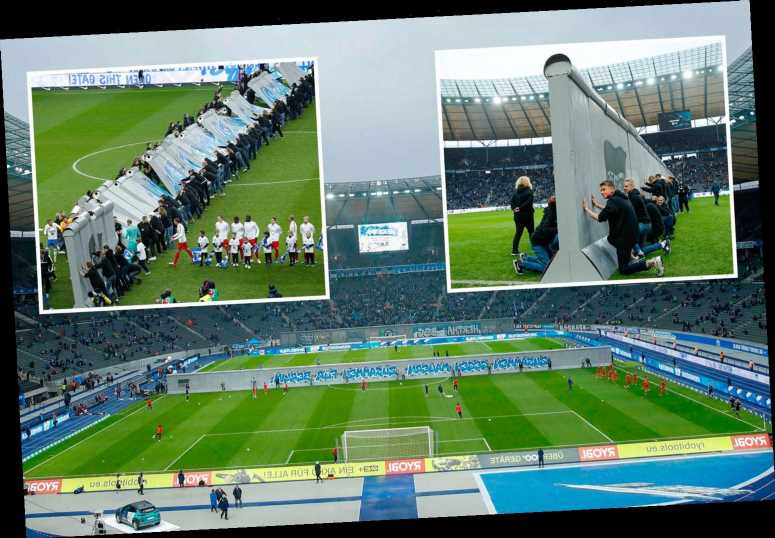 Hertha Berlin erect amazing replica of the Berlin Wall on their pitch to celebrate 30th anniversary of its fall – The Sun