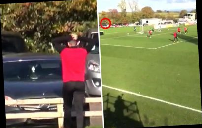 Watch as Exeter City player smashes his own car windscreen with horrendous shot in training – The Sun