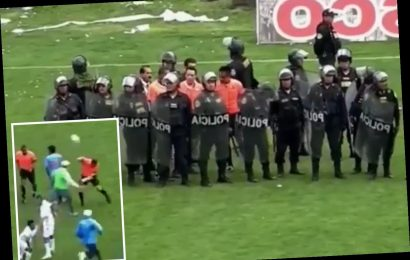 Watch horrific moment riot cops are forced to protect referee as players, fans and coaches try to attack him on pitch – The Sun