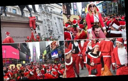 Revellers as Father Christmas through streets of London and New York