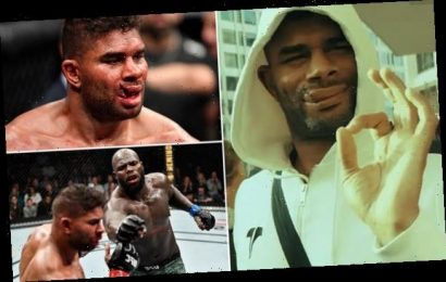 UFC star Overeem shows off his stitches after having TORN lip repaired
