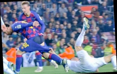 Toni Kroos exposes Lionel Messi's bum as he pulls Barcelona star's shorts down in 'highlight' of El Clasico – The Sun
