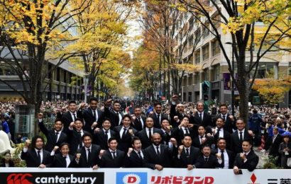 Rugby: Thousands laud Brave Blossoms in central Tokyo parade