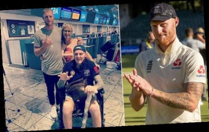 Ben Stokes poses with his dad who is on his way home after bad illness