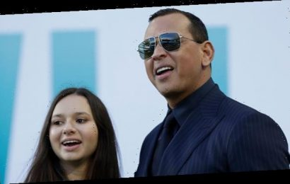 A-Rod Cheers On From The Stands With Daughter, Natasha, 15, As J.Lo Performs Halftime With Emme, 11