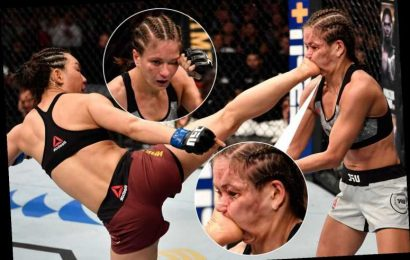 Incredible photo shows UFC fighter's face horrifically contort as she is kicked in the face – The Sun