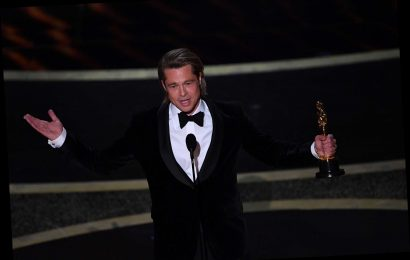 Brad Pitt Is Happy Riding Leonardo DiCaprio's 'Coattails' In Heartfelt Oscars Speech