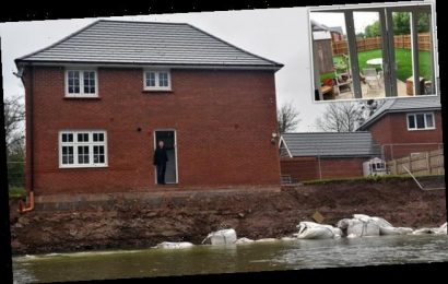 Family flee £400,000 new-build as river sweeps away entire garden
