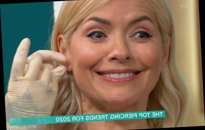 Holly Willoughby squeals in pain as she gets her ears re-pierced live on This Morning – The Sun