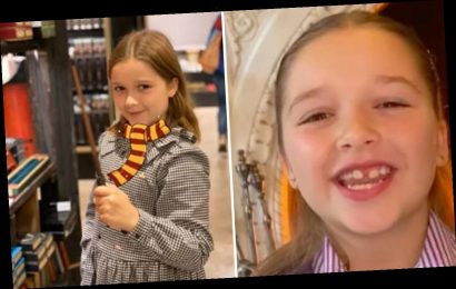 Harper Beckham looks adorable as she dresses up as Harry Potter's Hermione Granger for World Book Day