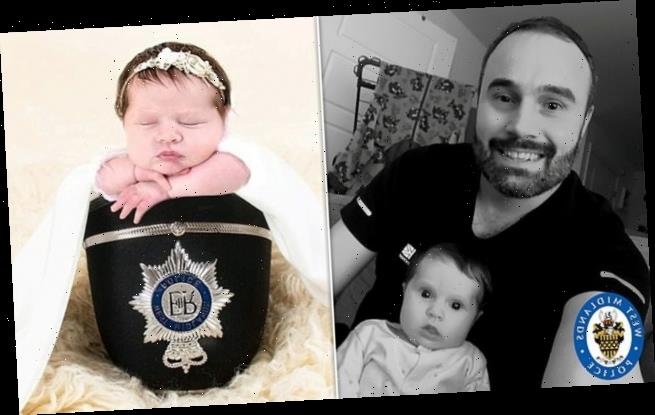 Officer moves away from nine-week-old baby after thug spits at him