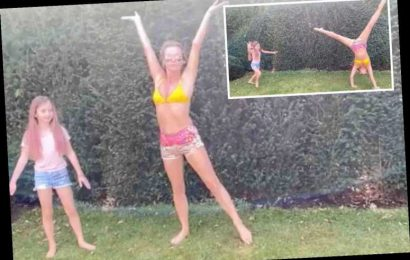 Amanda Holden does cartwheels in her garden in a bikini with daughter Hollie, 8 – The Sun