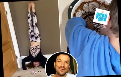 Peter Andre shares rare photos of Amelia and Theo as they do handstands and eat from bowl after making a chocolate cake – The Sun