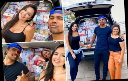 Douglas Costa and model girlfriend Nathalia deliver car full of supplies to the vulnerable to help fight coronavirus – The Sun