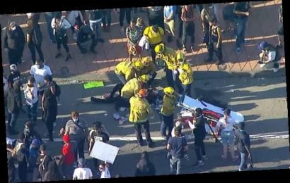 BREAKING NEWS: LA protester falls off police car during rally