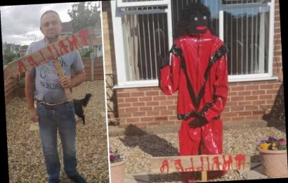 Stunned couple ordered to remove 'offensive' Michael Jackson scarecrow from their front garden by cops after complaint – The Sun