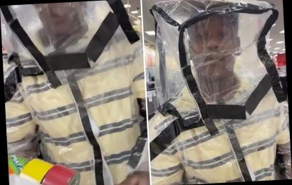 Shopper wears homemade coronavirus hazmat suit in Target – but forgets to cover his hands – The Sun