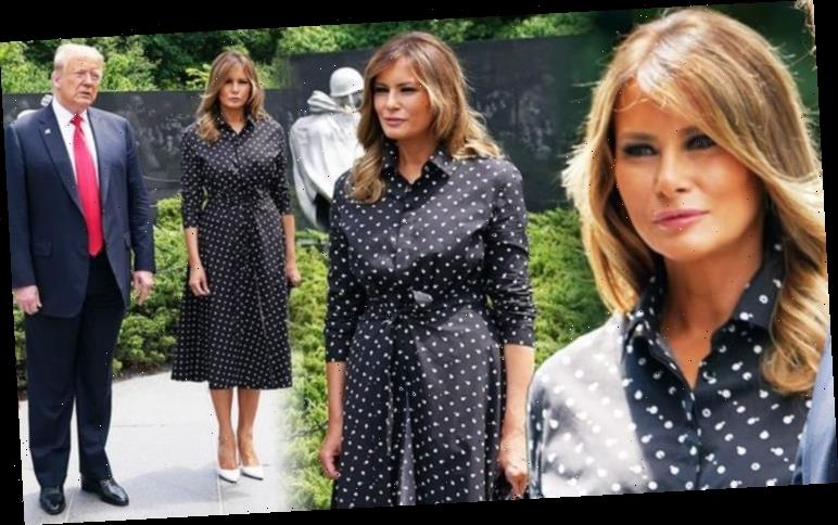 Melania Trump looks sombre in black polka dot dress and favourite £575 heels with Donald