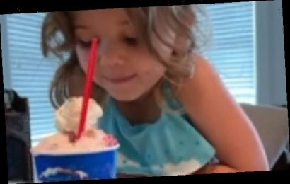 Four-year-old girl has a hilarious 'conversation' with her ice-cream