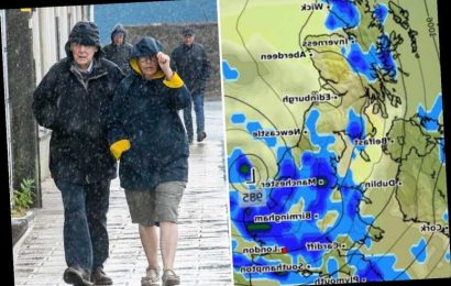 UK weather forecast – Britain to be lashed with torrential rain as temperatures plunge to 8C