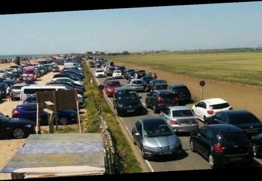 Police CLOSE road to Camber Sands as too many sunseekers flocking to beach for hottest day of the year
