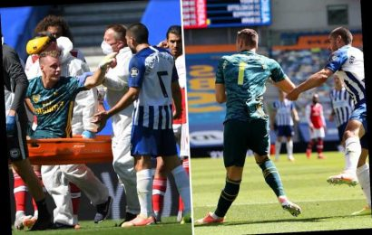 Bernd Leno suffers horror injury as BT Sport refuse to show replay before Arsenal ace rows with rival from his stretcher – The Sun