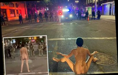 Nude protester dubbed 'Naked Athena' flashes Portland police and gets pepper balls shot at her feet – The Sun