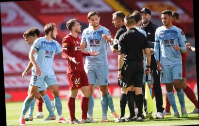 Watch Andy Robertson tell ref 'you didn't see 'f***ing anything' in foul-mouthed rant as Liverpool draw with Burnley
