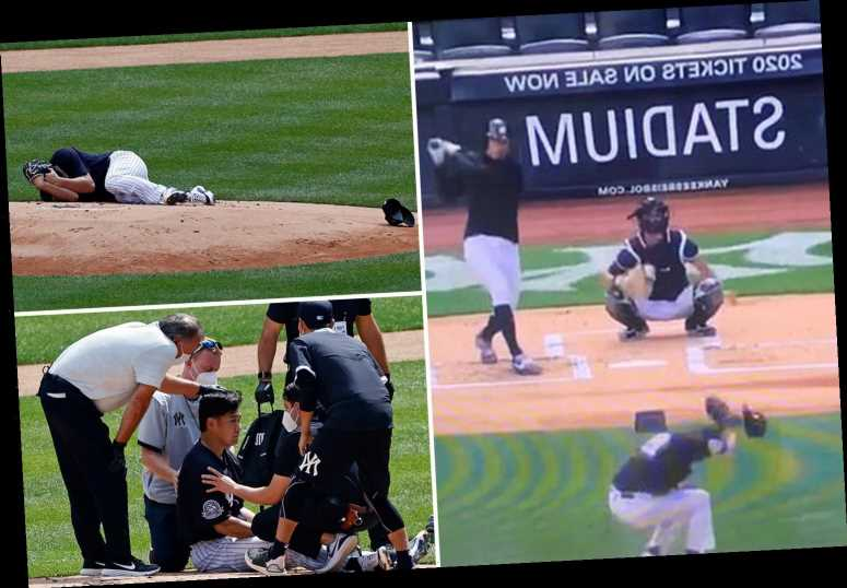 Watch baseball star Masahiro Tanaka take sickening blow to the head after monster swing from Giancarlo Stanton