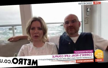 Corrie's Joe Duttine & Sally Carman joke about kicking off romance on set
