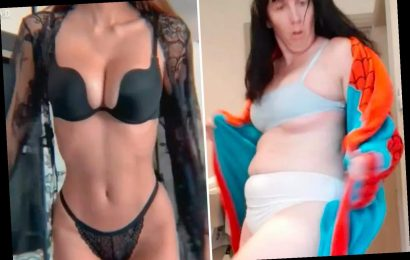 Mum parodies stunning model's lingerie shoot but admits she nearly flashed the camera during filming