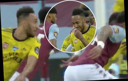 Aubameyang 'mugged off' by Mings after being distracted by his joke while Villa ace flicks on corner for goal vs Arsenal