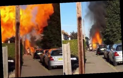 Dramatic moment huge fireball rockets into the sky as van explodes